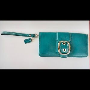 Beautiful Coach Jade Buckle Clutch with Strap